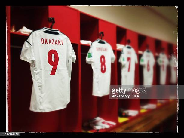 Shirts hang in the Japan changing room prior to the FIFA Confederations Cup Brazil 2013 Group A match between Italy and Japan at Arena Pernambuco on...