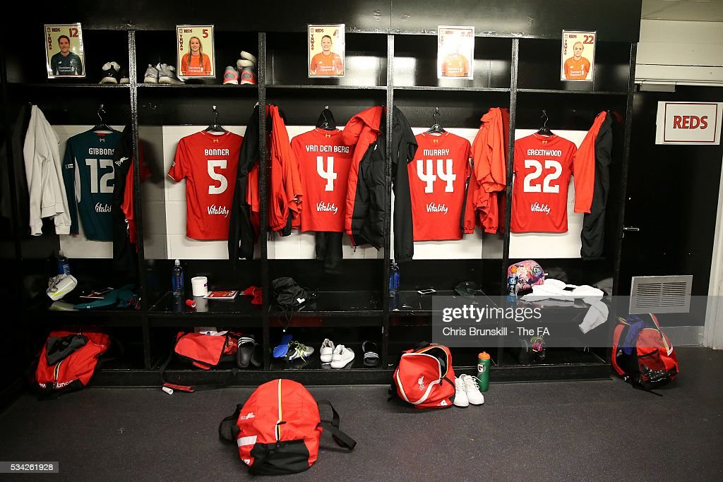 Shirts hang in the Liverpool Ladies FC dressing room ahead of the FA WSL match between Liverpool Ladies FC and Manchester City Women at the Halton Stadium on May 25, 2016 in Widnes, England.
