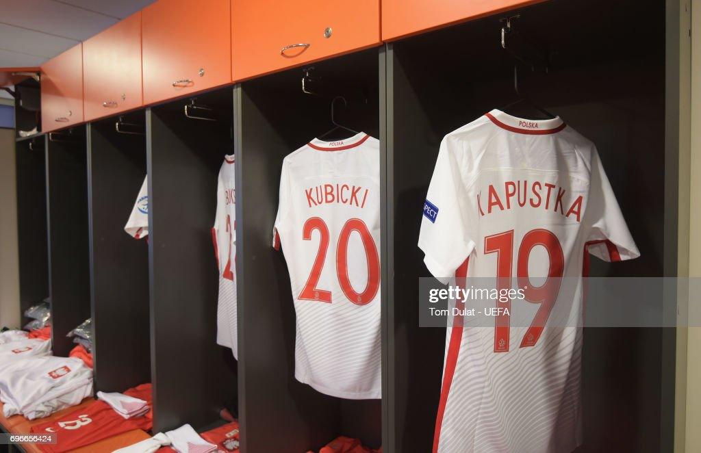 Shirts hang in the Poland dressing room prior to the UEFA European Under-21 Championship match between Poland and Slovakia at Lublin Stadium on June 16, 2017 in Lublin, Poland.