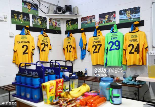 Shirts hang in the Sutton United changing room prior to The Emirates FA Cup Fifth Round match between Sutton United and Arsenal at The Borough Sports...