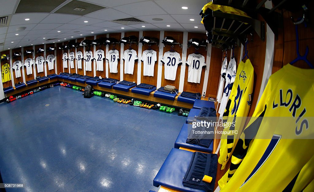 Shirts hang in the Tottenham Hotspur changing room prior to the Barclays Premier League match between Tottenham Hotspur and Watford at White Hart Lane on February 6, 2016 in London, England.