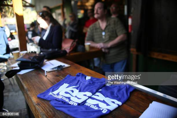 T shirts in support of Yes California during a meeting for the Yes California and the California Sucessionist movement at The Hole in the Wall bar in...