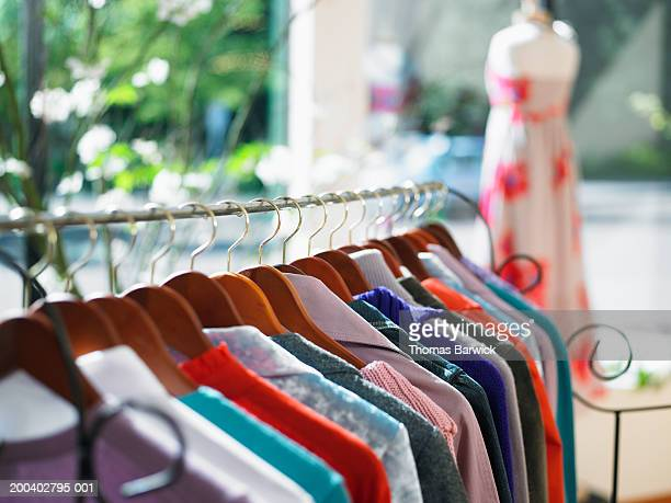 Shirts on clothes rack in retail store