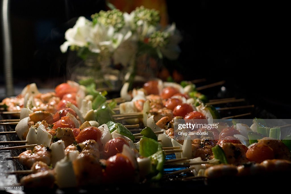 Shish Kebabs Grilling at Night : Stock Photo
