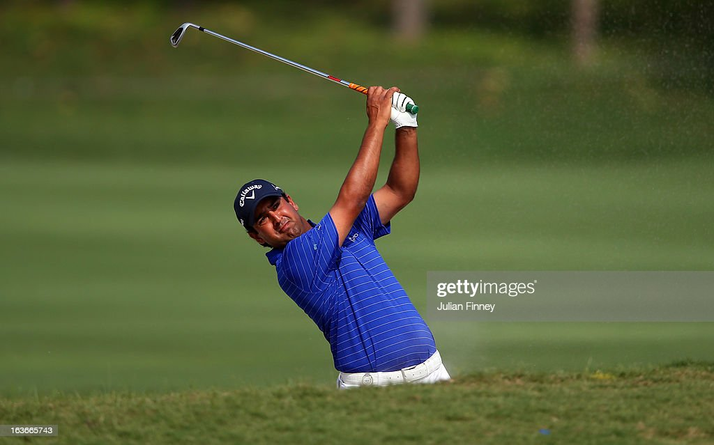 Shiv Kapur of India in action during day one of the Avantha Masters at Jaypee Greens Golf Club on March 14, 2013 in Delhi, India.