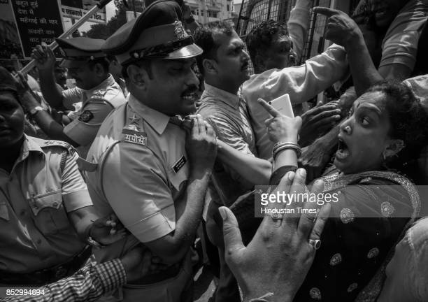 Shiv Sena activists had minor scuffle with police during protest against BJP government for the rising prices of petrol and diesel at Kurla on...
