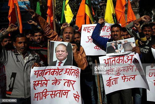 Shiv Sena activists shouting slogans against Pakistan after a terrorist attack at Pathankot Air Base on January 3 2016 in Jammu India The deadly...