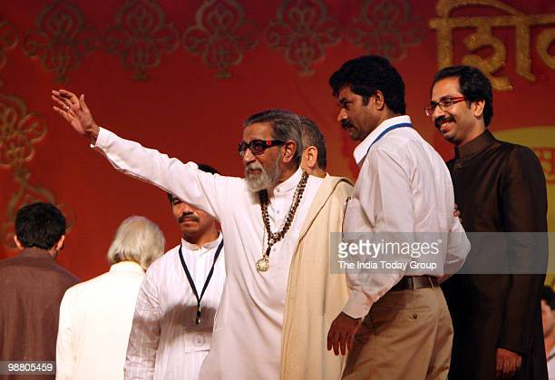 Shiv Sena Chief Bal Thackeray with his son Uddhav Thackeray during Maharashtra day celebration at Bandra Kurla Complex in Mumbai on Saturday May 1...