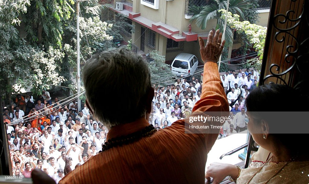 Shiv Sena chief Balasaheb Thackeray acknowledge to his supporters on his 83th birthday at his residence Matoshri in Bandra on January 23, 2010 in Mumbai, India.