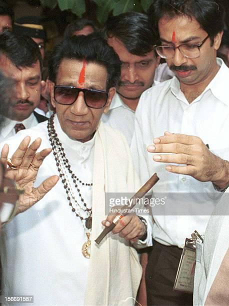 Shiv sena chief Balasaheb Thackeray and son Uddhav Thackeray on January 28 2002 in Mumbai India