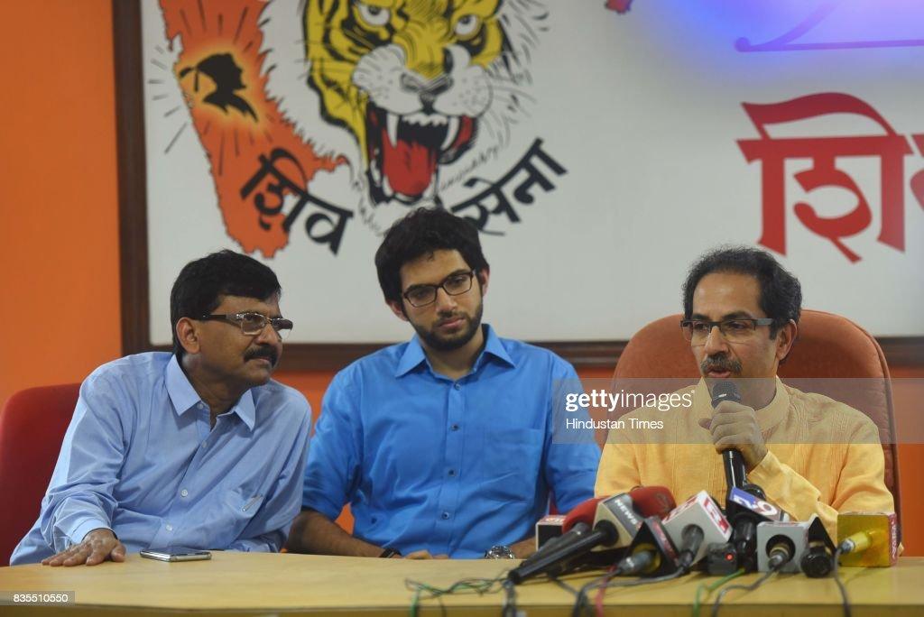 Shiv Sena Chief Uddhav Thackeray addresses during a press conference at Sena Bhavan, on August 18, 2017 in Mumbai, India. After the meeting, Uddhav said that his party is preparing for the Lok Sabha and Vidhan Sabha polls.
