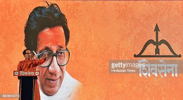 Shiv Sena Chief Uddhav Thackeray addresses during a rally ahead of BMC polls at Goregaon on January 26 2017 in Mumbai India Thackeray called off his...