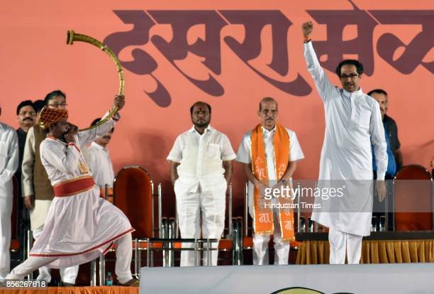 Shiv Sena Chief Uddhav Thackeray addresses during the party's annual Dussehra rally amid speculation about likely announcement of Sena snapping ties...