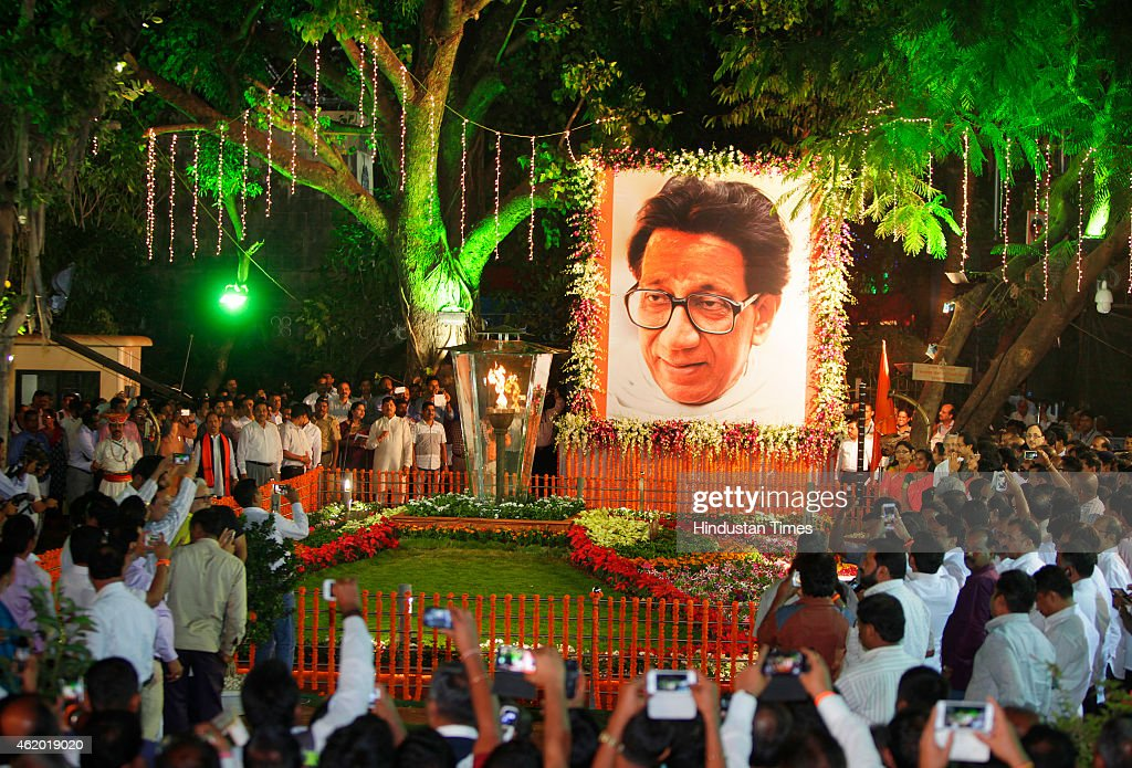 Shiv Sena Chief Uddhav Thackeray with his wife Rashmi Thackeray and son Aditya Thackeray inaugurate firelight at Shivaji Park on the occasion of Late Balasaheb Thackeray birth anniversary on January 23, 2015 in Mumbai, India.