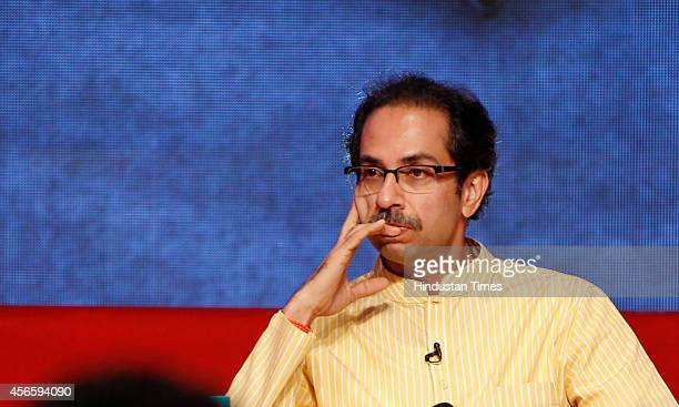Shiv Sena chief Uddhav Thackeray's interview at Sofitel Hotel Bandra on October 3 2014 in Mumbai India With the rupture of ageold alliances between...