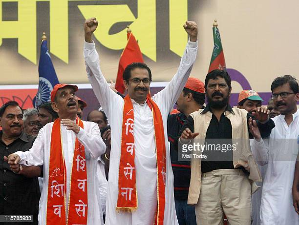 Shiv Sena Executive President Uddhav Thackeray with RPI President Ramdas Athawale during a joint rally called by the Shiv Sena BJP and the RPI...