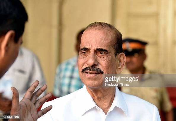 Shiv Sena leader Manohar Joshi outside counting booth at Dadar on February 23 2017 in Mumbai India The BJP has won 82 of the councils 227 seats and...