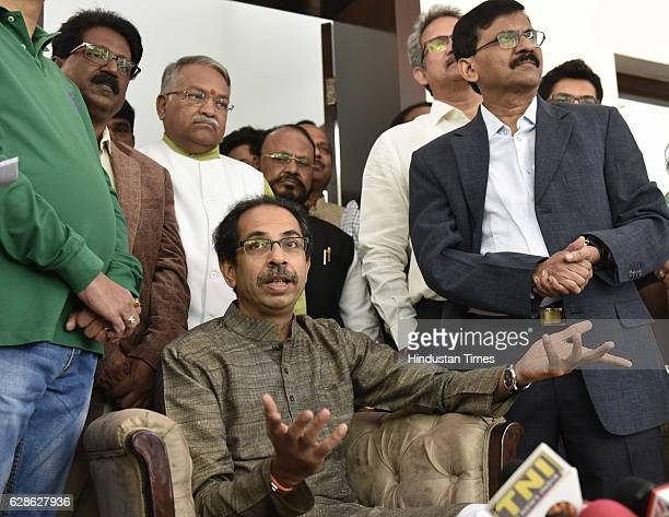 Shiv Sena leader Uddhav Thackeray with his party leaders during his press conference before meeting with Finance Minister on December 8 2016 in New...