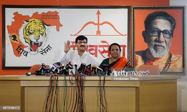 Shiv Sena leaders Sanjay Raut and Neelam Gore addresses the media at Shiv Sena Bhavan in Dadar on October 20 2014 Mumbai India Despite emerging as...