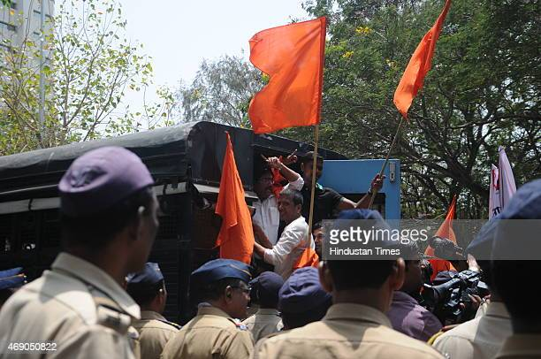 Shiv Sena party workers protest outside Shobha De's House by presenting Vada Pav and Misal for her tweets on Marathi food on April 9 2015 in Mumbai...