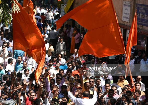 Shiv Sena supporters celebrate the victory at Dadar on February 23 2017 in Mumbai India The BJP has won 82 of the councils 227 seats and eight out of...