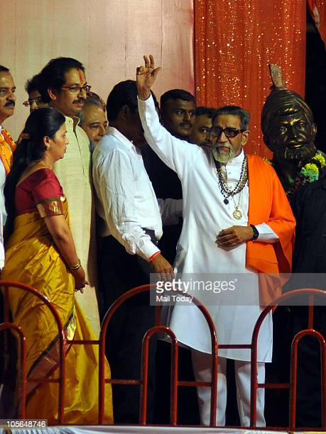 Shiv Sena supremo Bal Thackeray along with his Son Udhav Thackeray during the Dusshera rally in Mumbai on October 17 2010