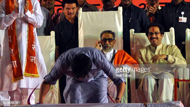 Shiv Sena supremo Bal Thackeray along with his Son Udhav Thackeray and grandson Aditya Thackeray during the Dusshera rally in Mumbai on October 17...