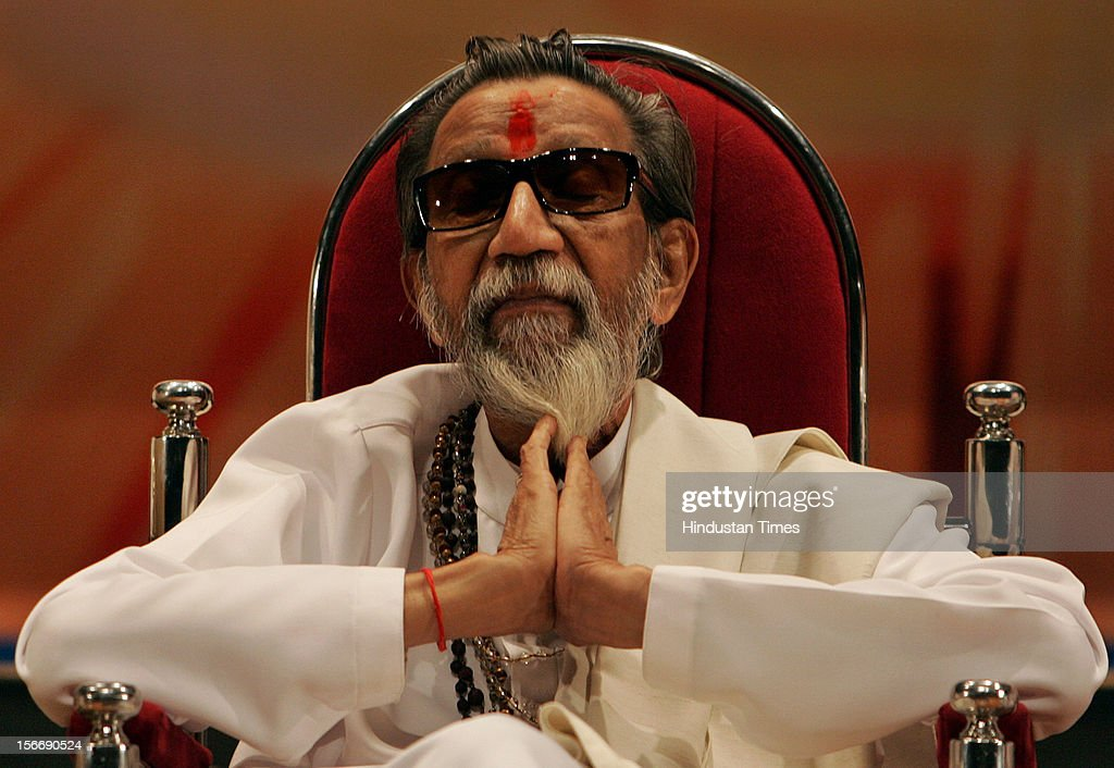 Shiv Sena Supremo Balasaheb Thackeray addressing a function organised to celebrate the 41st Foundation Day of the Shiv Sena party at Shanmukhanad Hall on June 19, 2007 in Mumbai, India.
