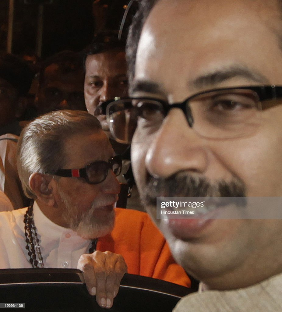 Shiv Sena supremo Balasaheb Thackeray and Executive President Uddhav Thackeray visit Hutatma Chowk to pay tribute May 1, 2012 in Mumbai, India.