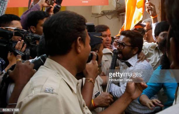 Shiv Sena workers disrupting Mekaal Hasan Band's press conference at the Mumbai press club in Mumbai India