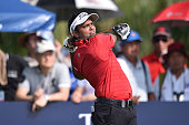 Shiv Shankar Prasad Chawrasia of India plays the shot during the final round of the 2015 Thailand Open at Amata Spring Country Club on December 13...