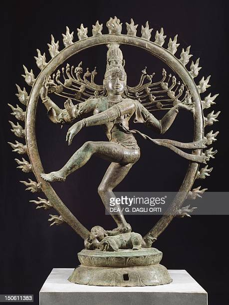 Shiva as Nataraja dancing in a circle of flames bronze statue in Dravidian style India Detail Indian Civilisation Cola dynasty 11th century