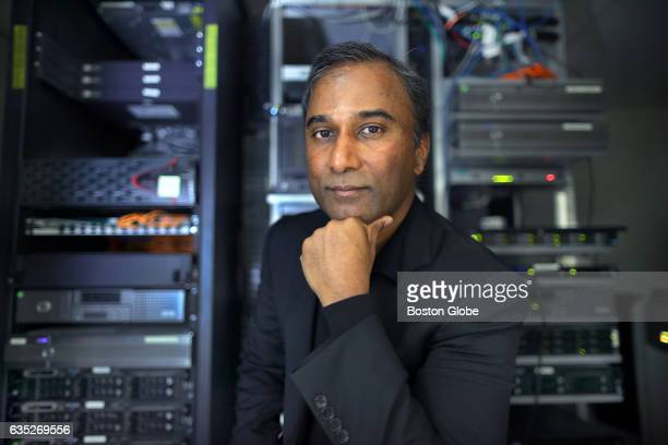 Shiva Ayyadurai poses for a portrait in a computer room in his Cambridge MA office on Jan 28 2017 Ayyadurai holds four degrees from MIT and claims to...