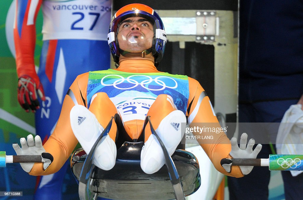 Shiva K.P. Keshavan of India prepares to take the start of the men's luge singles run 3 at the Whistler sliding centre on February 14, 2010 during the Vancouver Winter Olympics.