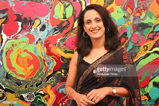 Shivani Wazir Pasrich at filmmaker Anu Malhotra's debut art show Hue Borne at Visual Arts Gallery India Habitat Centre on September 2 2014 in New...
