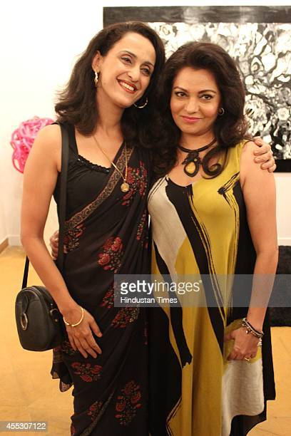 Shivani Wazir Pasrich with filmmaker Anu Malhotra during her debut art show Hue Borne at Visual Arts Gallery India Habitat Centre on September 2 2014...