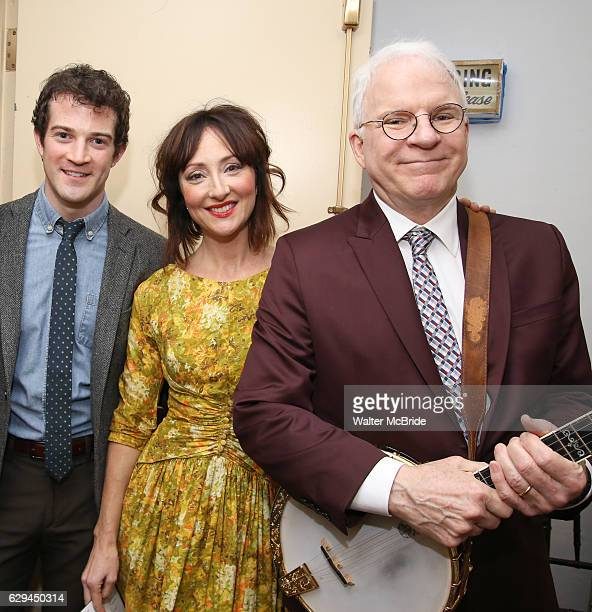 J Shively Carmen Cusack and Steve Martin backstage before 'Bright Star' In Concert at Town Hall on December 12 2016 in New York City