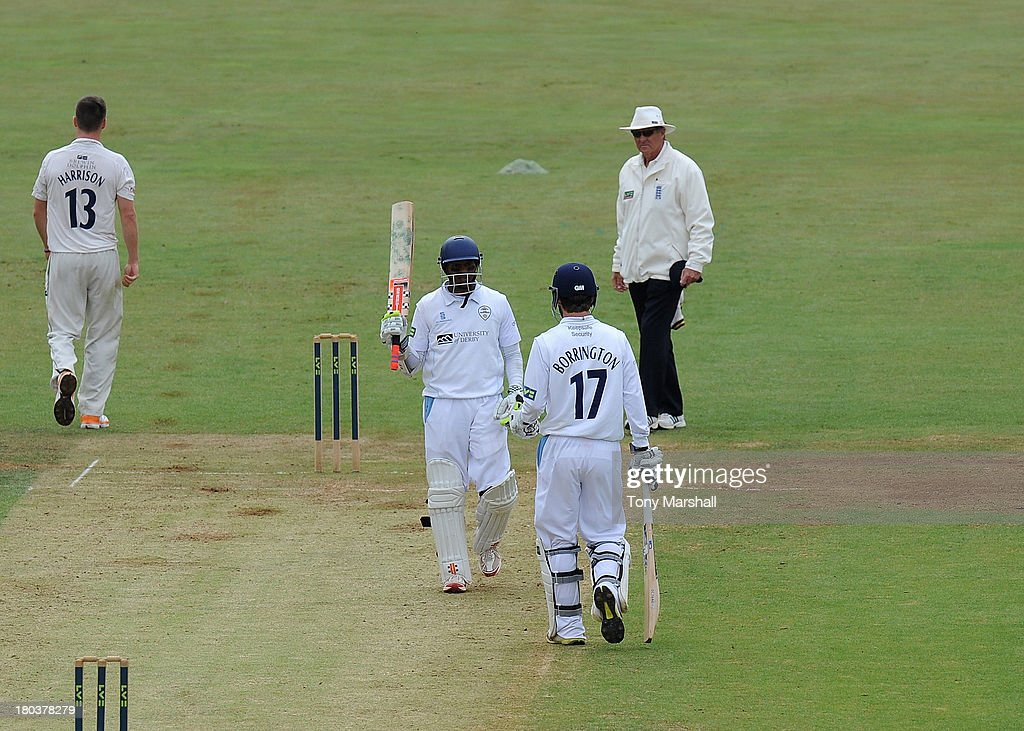 <a gi-track='captionPersonalityLinkClicked' href=/galleries/search?phrase=Shivnarine+Chanderpaul&family=editorial&specificpeople=206755 ng-click='$event.stopPropagation()'>Shivnarine Chanderpaul</a> of Derbyshire celebrates reaching his 50 during the LV County Championship match between Derbyshire and Durham at The County Ground on September 12, 2013 in Derby, England.