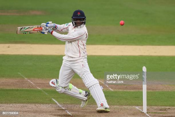 Shivnarine Chanderpaul of Lancashire batting during the Specsavers County Championship Division One match between Warwickshire and Lancashire at...