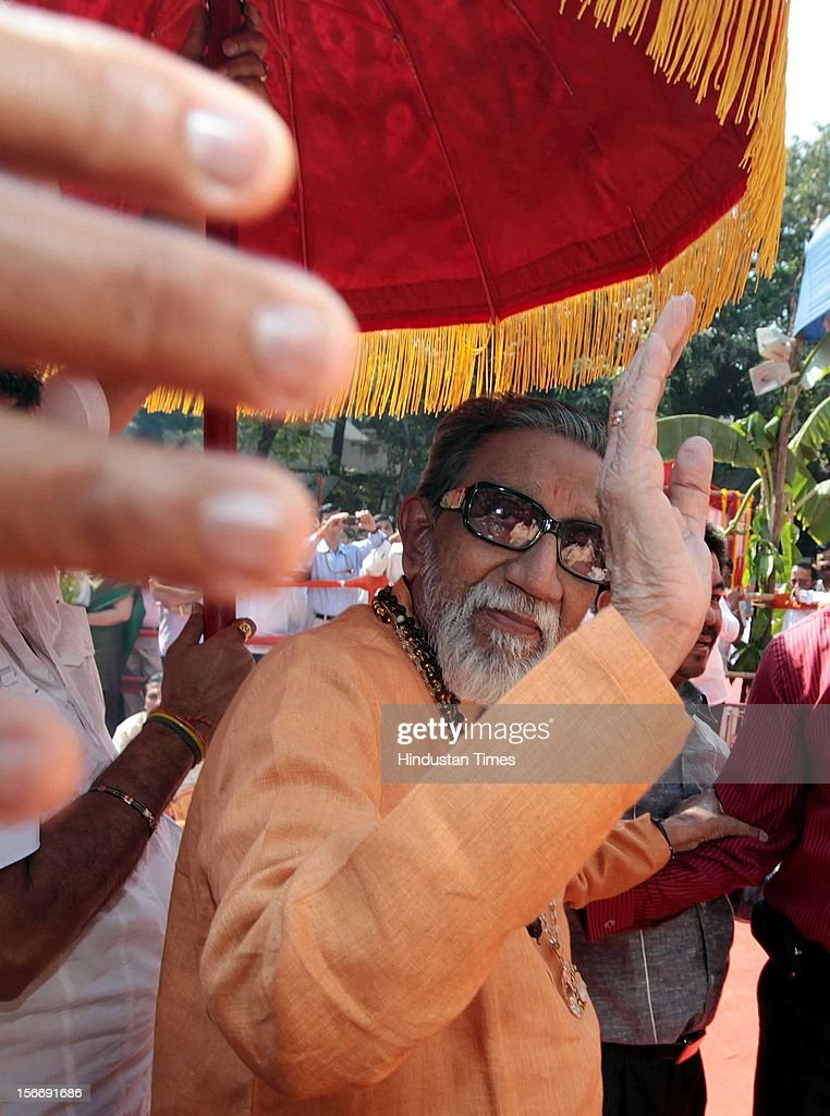 Shivsena chief Balasaheb Thackeray arrives at the venue where Maha Mrutyunjay Yagna was organised on his 85th birthday on January 23, 2012 in Mumbai, India. (Photo by Vijayanand Gupta/Hindustan Times Via Getty Images).