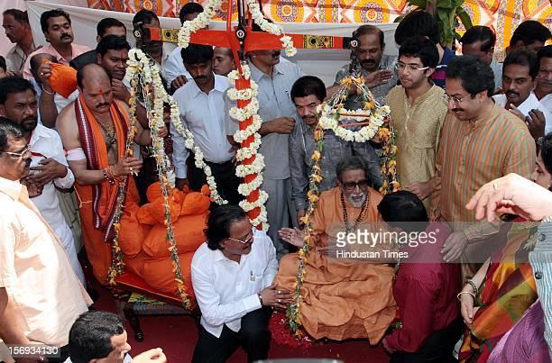 Shivsena chief Balasaheb Thackeray during his Rudraksha Tulabhar which was organised on his 85th birthday on January 23 2012 in Mumbai India