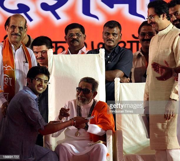 Shivsena chief Balasaheb Thackeray giving blessing to Aditya Thackeray at the rally at shivaji park on October 17 2010 in Mumbai India