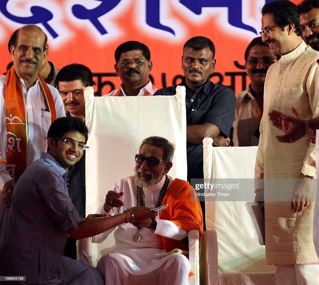 Shivsena chief, Balasaheb Thackeray giving blessing to Aditya Thackeray at the rally at shivaji park on October 17, 2010 in Mumbai, India.