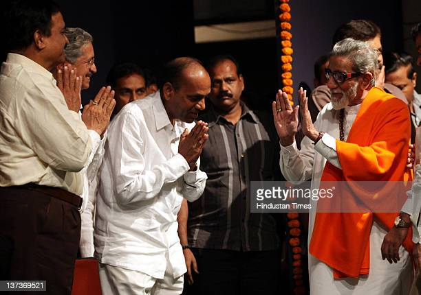 Shivsena chief Balasaheb Thackeray meets with party workers ahead of upcoming civic elections at Bandra on January 18 2012 in Mumbai India Ten...