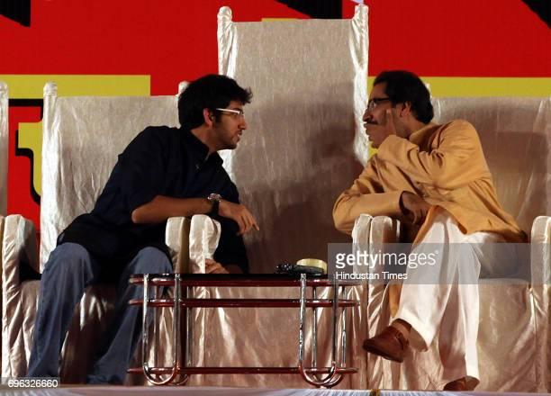 Shivsena Executive chief UddhavThackeray and his son Aditya during Shivsena's Dussehra rally at Shivaji Park