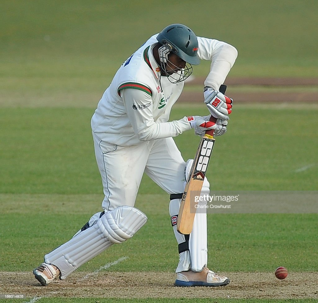 Shivsinh Thakor of Leicestershire plays a block during day two of the LV County Championship match between Hampshire and Leicestershire at The Ageas Bowl on April 11, 2013 in Southampton, England.