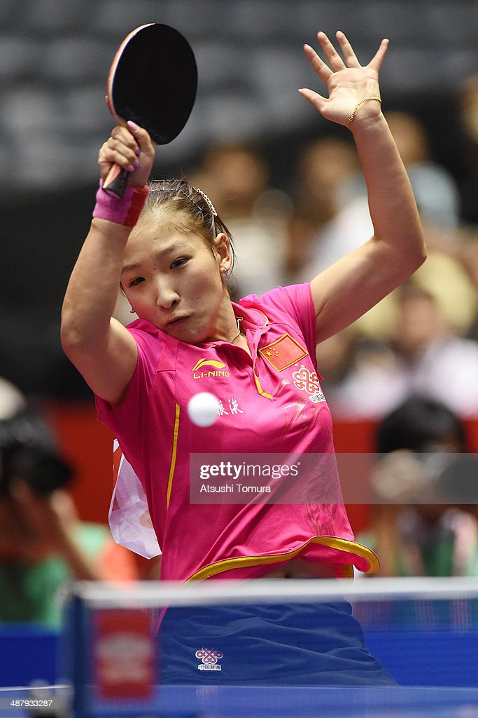Shiwen Liu of China plays a forehand against Myong Sun Ri of North Korea during day six of the 2014 World Team Table Tennis Championships at Yoyogi National Gymnasium on May 3, 2014 in Tokyo, Japan.