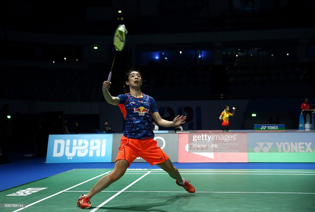 Shixian Wang of China in action against Ji Hyun Sung of Korea in the Women's Singles match during day two of the BWF Dubai World Superseries 2015...