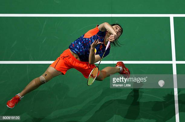 Shixian Wang of China in action against Ratchanok Intanon of Thailand in the Women's Singles match during day three of the BWF Dubai World...