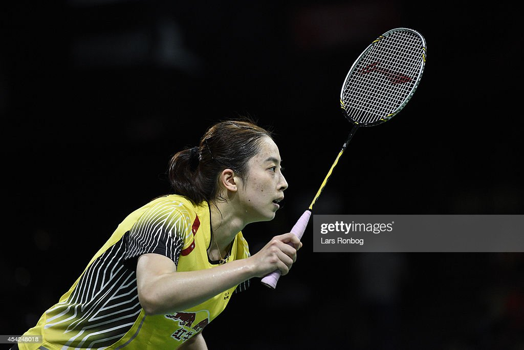 Shixian Wang of China in action during the Li-Ning BWF World Badminton Championships at Ballerup Super Arena on August 27, 2014 in Copenhagen, Denmark.